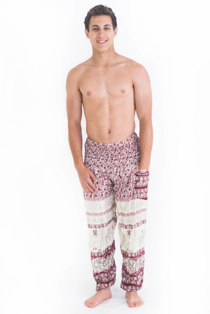 Red Elephant Pattern Harem Pants - Koia Collective