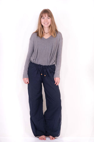 Women's Dark Blue Double Layer Palazzo Harem Pants - Koia Collective