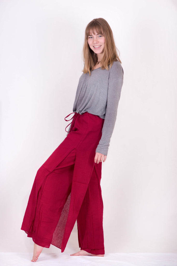 Women's Red Double Layer Palazzo Harem Pants - Koia Collective