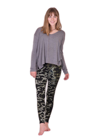 Black Grey Mix Marble Tie Dye Leggings - Koia Collective