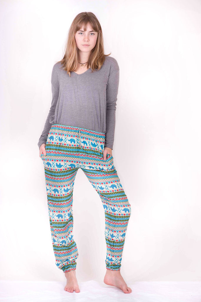 Slim Cut Elephant Print Harem Pants - Koia Collective