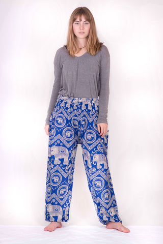 Blue Elephant Design Harem Pants - Koia Collective