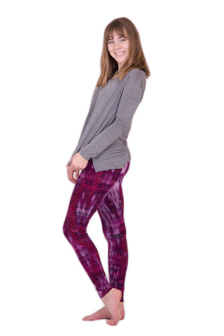 Purple Pink Lightning Stripes Tie Dye Leggings - Koia Collective