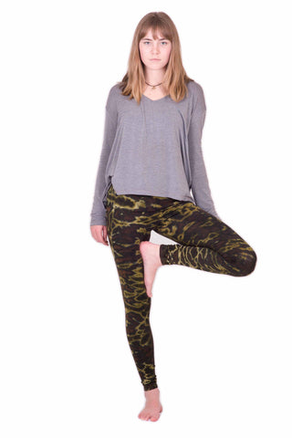 Dark Green Marble Tie Dye Leggings - Koia Collective