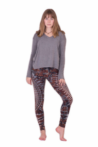 Brown Oval Swirls Tie Dye Leggings - Koia Collective