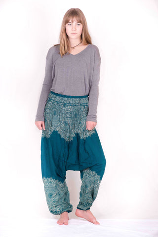 Turquoise Blue Floral Mandalas Drop Crotch Harem Pants - Koia Collective