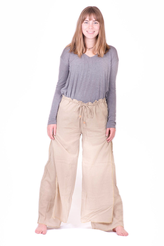 Women's Tan Double Layer Palazzo Harem Pants - Koia Collective
