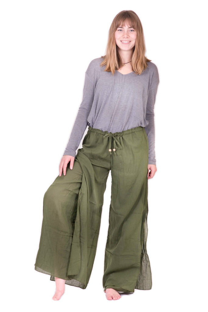 Women's Green Double Layer Palazzo Harem Pants - Koia Collective