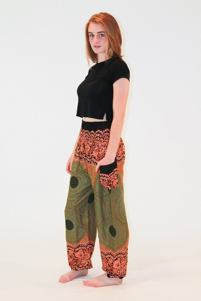 Geometric Mandalas Green Orange Harem Pants - Koia Collective