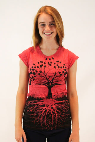 Women's Shirt Tree of Life Red - Koia Collective