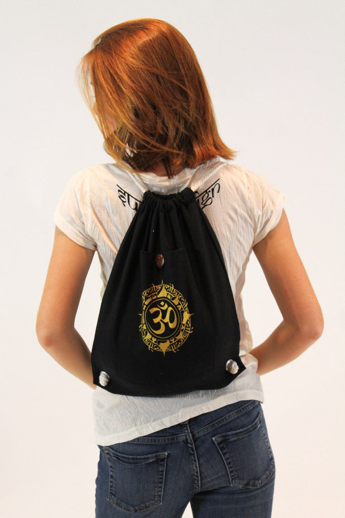 Ohm Drawstring Cotton Canvas Backpack in Black - Koia Collective