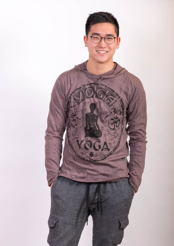 Yoga Stamp Hoodie Brown - Koia Collective