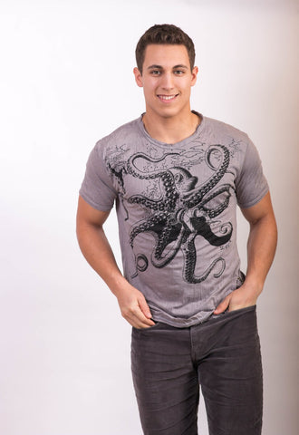 Men's Octopus Shirt Grey - Koia Collective