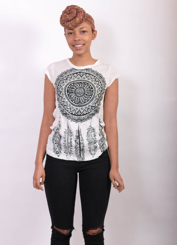 Women's Dream Catcher Shirt White - Koia Collective