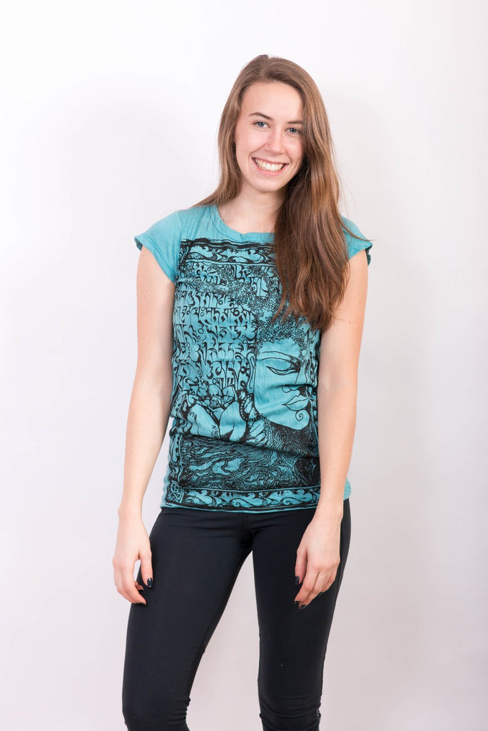 Women's Buddha Shirt Blue Turquoise - Koia Collective