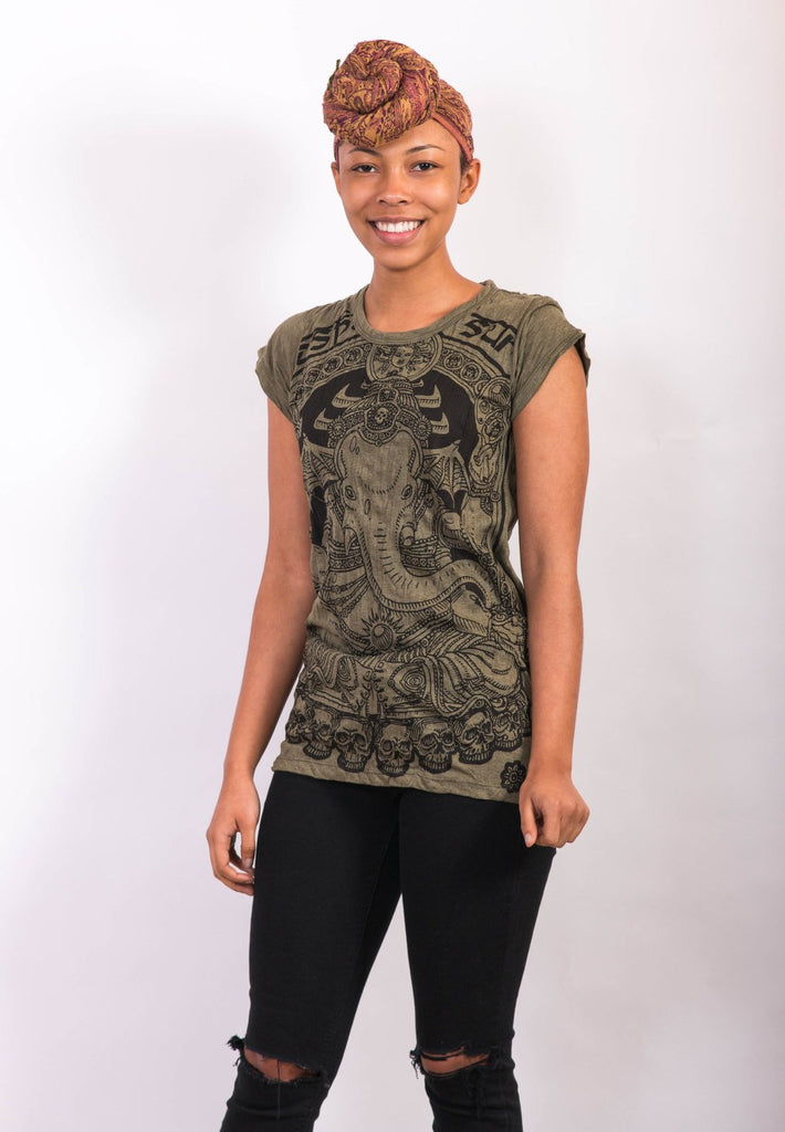 Women's Lord Ganesh Shirt Dark Green - Koia Collective