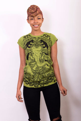 Women's Shirt Lord Ganesha Green - Koia Collective