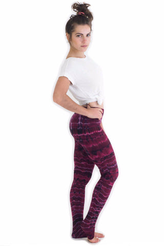 Maroon Melting Stripes Tie Dye Leggings - Koia Collective