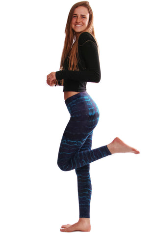 Blue Purple Melting Stripes Tie Dye Leggings - Koia Collective