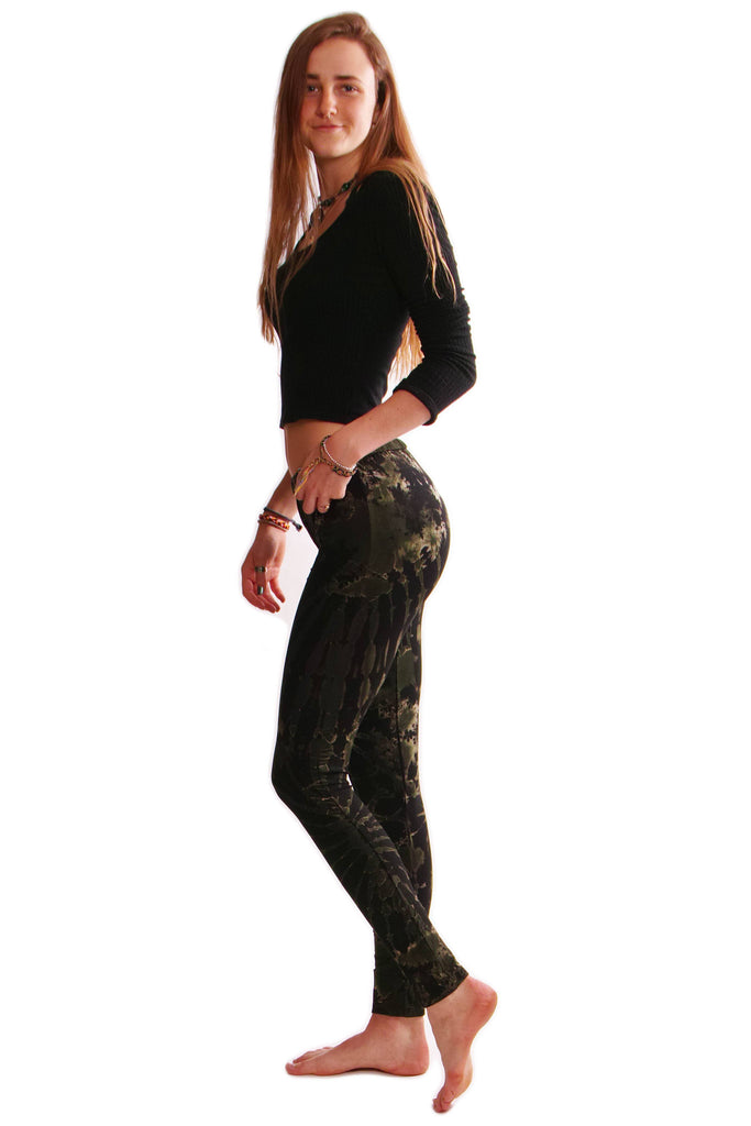 Dark Green Tie Dye Leggings