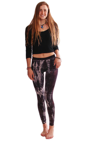 Black Lightning Stripes Tie Dye Leggings - Koia Collective