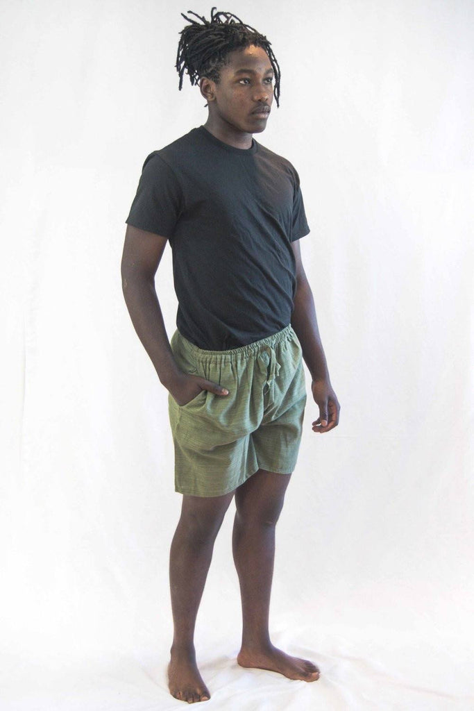 Pin Stripes Unisex Shorts Green - Koia Collective