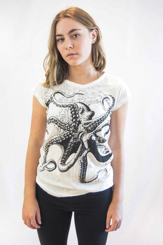 Octopus Women's Shirt White - Koia Collective