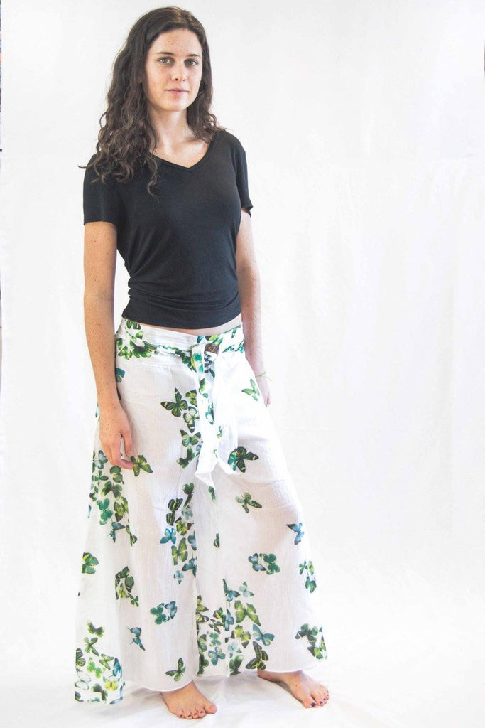 Women's Thai Harem Palazzo Butterfly Pants Green - Koia Collective