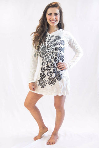 Chakra Fractal Hoodie Dress White - Koia Collective