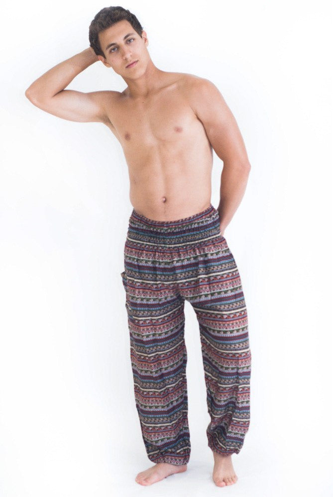 Red Green Aztec Stripes Harem Pants - Koia Collective