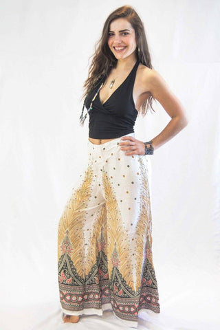 Wide Leg Harem Pants Peacock White - Koia Collective