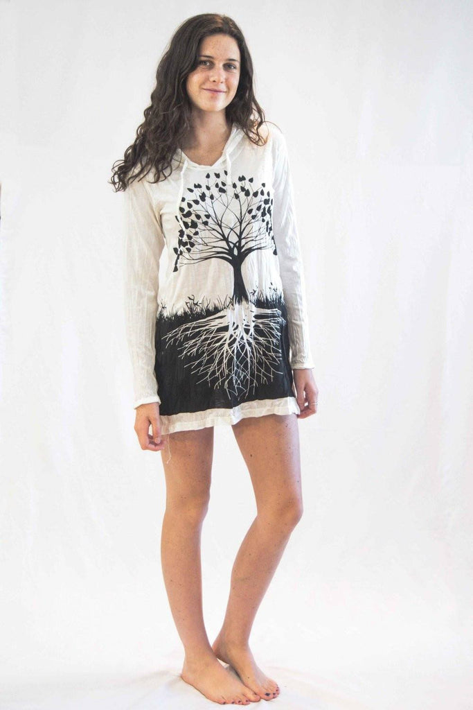 Tree of Life Hoodie Dress White - Koia Collective