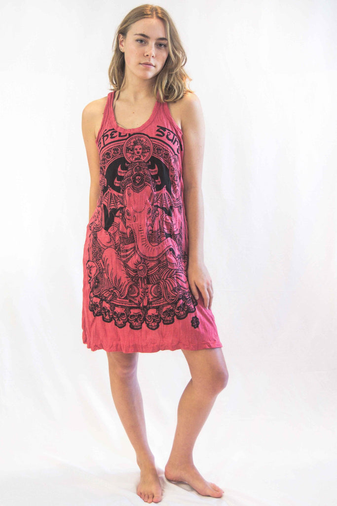 Lord Ganesh Tunic Dress Red - Koia Collective