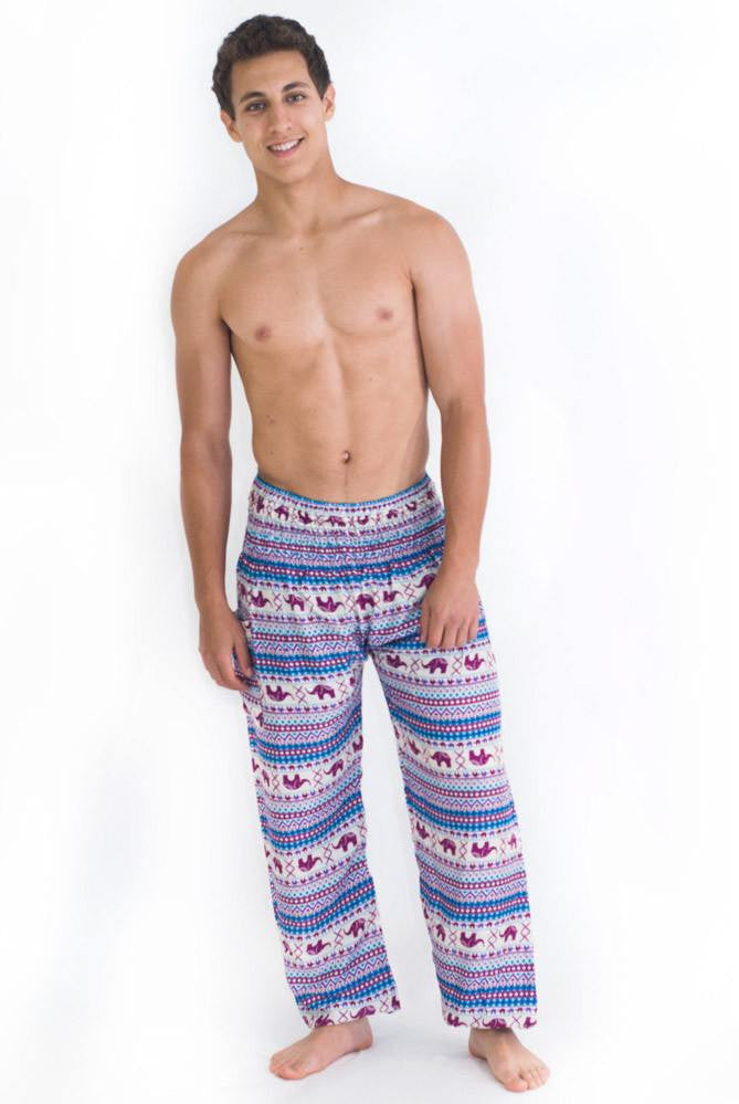 Elephant Print Purple Blue Harem Pants - Koia Collective