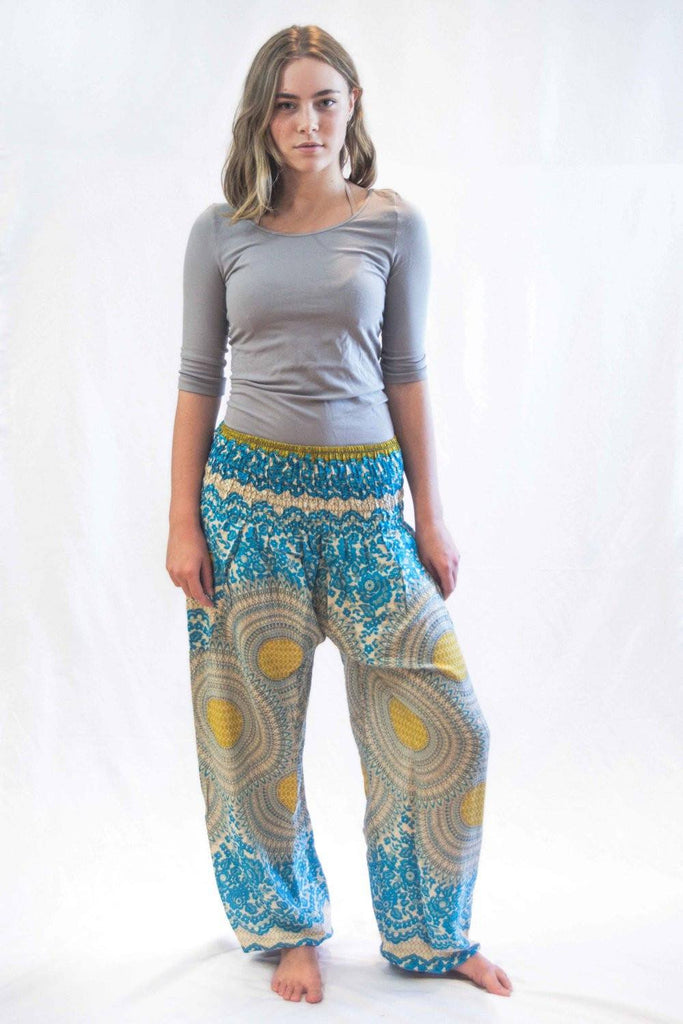 Geometric Mandalas Harem Pants Blue Gold - Koia Collective