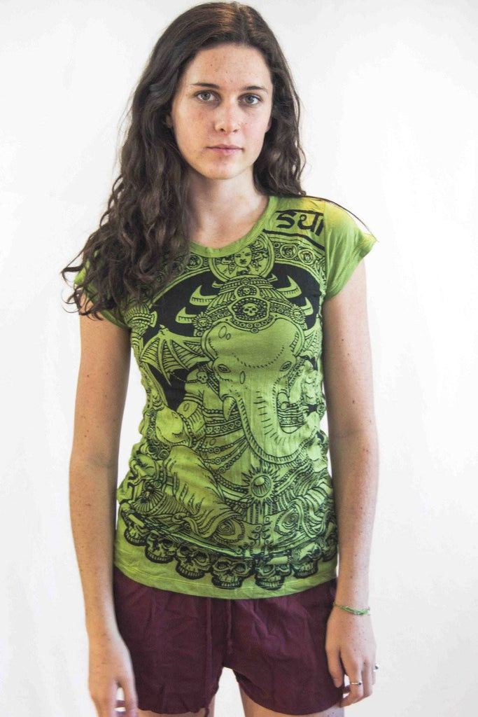 Lord Ganesh Women's Shirt Green - Koia Collective