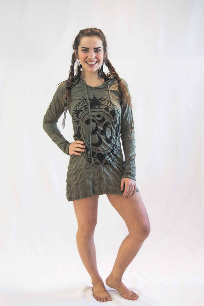 Ohm Hoodie Dress Brown Green - Koia Collective