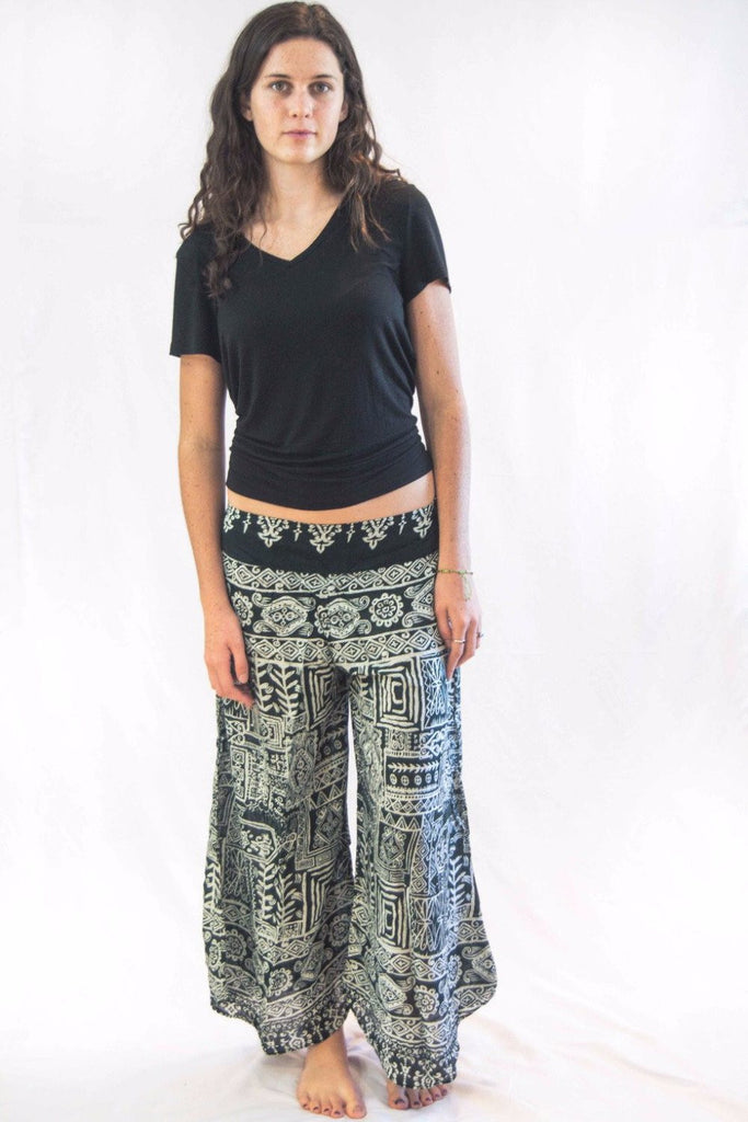 Wide Leg Harem Pants Tribal Print Green - Koia Collective