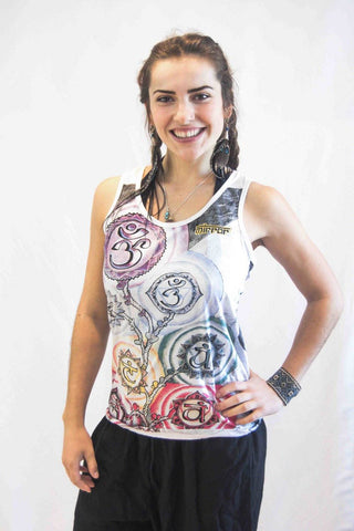 Women's Tank Top Chakra Tree White - Koia Collective