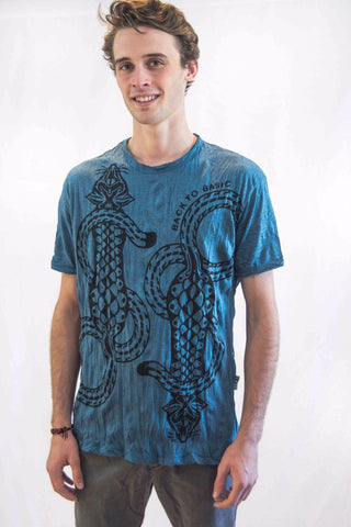 Men's Cat Tattoo Shirt Blue - Koia Collective