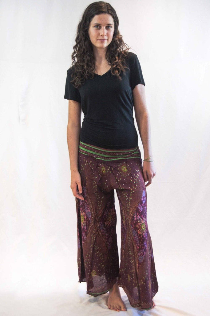 Wide Harem Pants Peacock Eyes Pink - Koia Collective