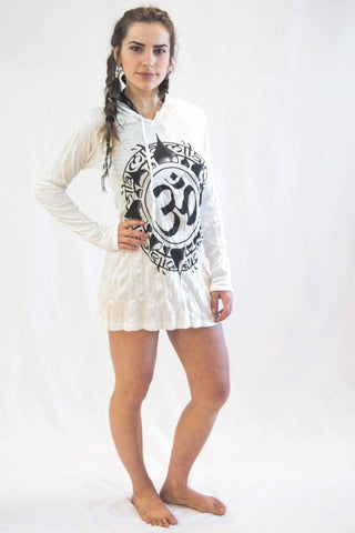 Ohm Hoodie Dress White - Koia Collective