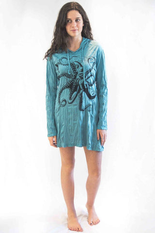 Octopus Hoodie Dress Turquiose - Koia Collective