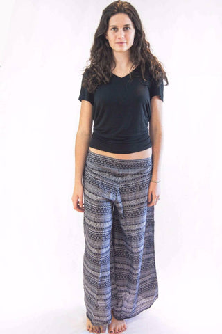 Wide Leg Harem Pants Aztec Stripes Grey - Koia Collective
