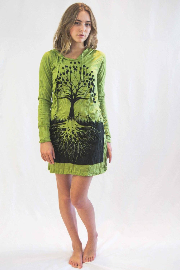 Tree of Life Hoodie Dress Green - Koia Collective