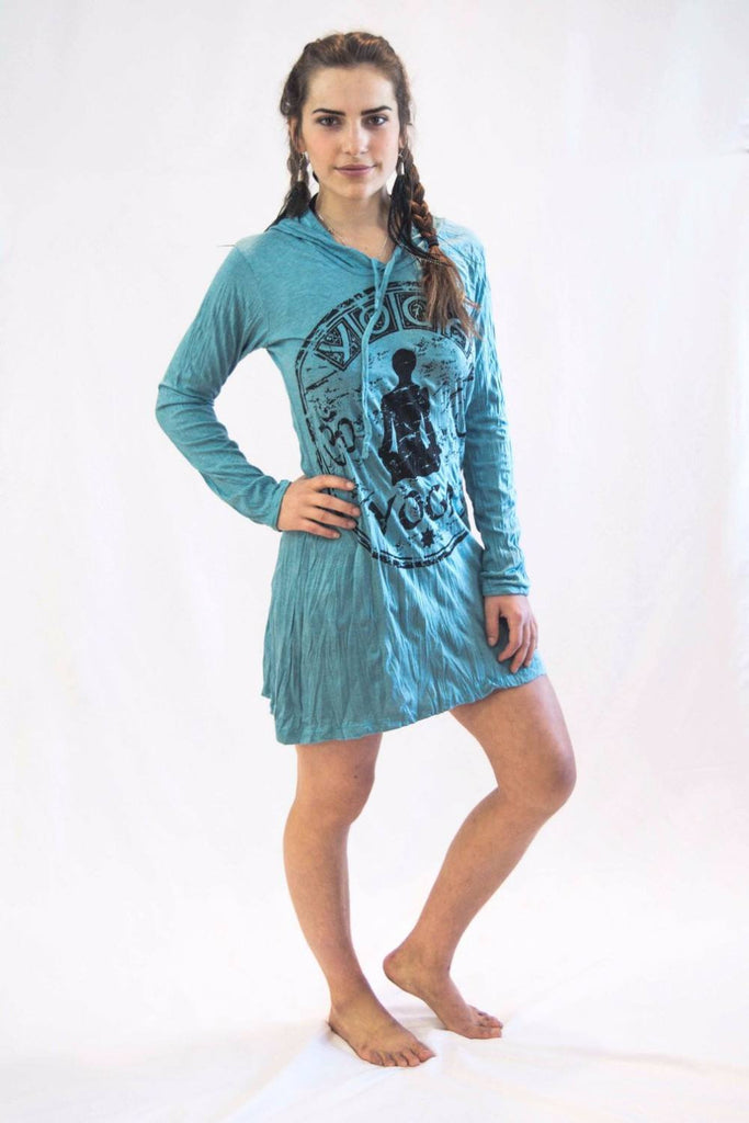 Yoga Stamp Hoodie Dress Turquoise - Koia Collective
