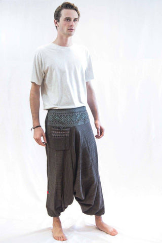 Pinstripe Cotton Low Cut Harem Pants With Hill Tribe Trim Brown - Koia Collective
