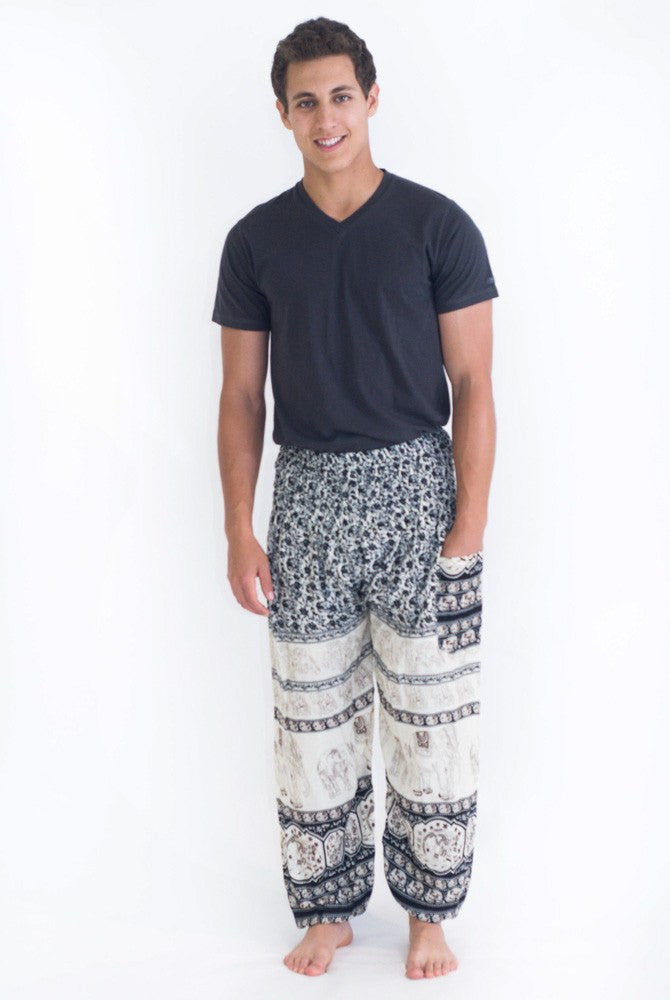 Blue Elephant Print Harem Pants - Koia Collective