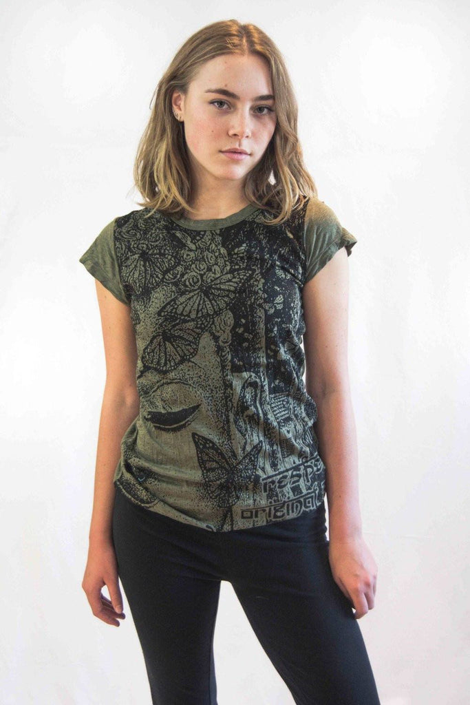 Buddha Women's Shirt Dark Green - Koia Collective