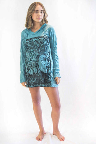 Buddha Picture Hoodie Dress Turquoise - Koia Collective